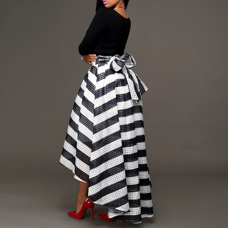 Elegant Two-Piece Long Sleeve Stripe Dress 2
