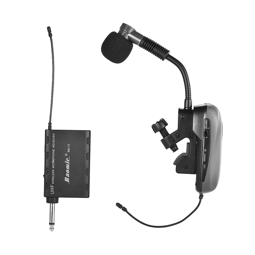 Professional UHF Wireless Instrument Microphone System Receiver Transmitter 630 690MHz 16 Channels for Sax Saxophone Trumbone