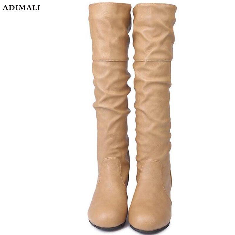 Sobre as botas do joelho moda mulher do punk saltos med botas sapatos femininos sapatos femininos botas feminina tamanho grande 34- 43