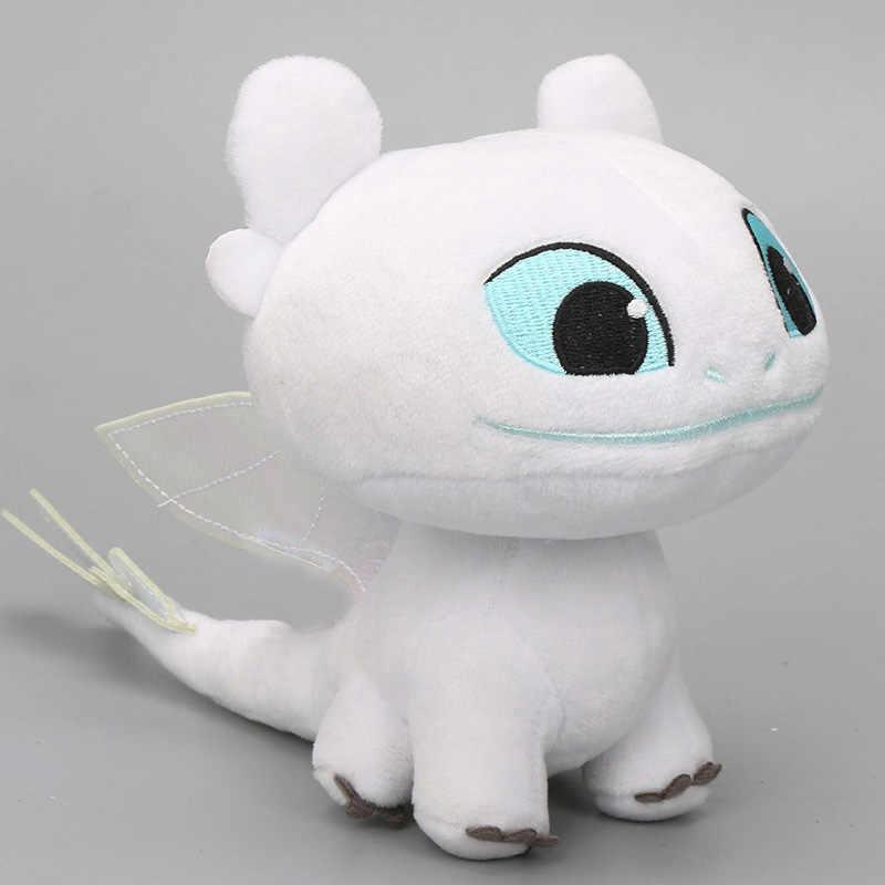 2019 15cm branco desdentado como treinar seu dragão 3 brinquedo de pelúcia fúria da noite macio dragão branco recheado boneca animal brinquedos luz fúria
