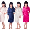 B16811 2016 Venta Caliente Kid Robe Túnicas Kimono de Seda de dama de Honor Vestido de Los Niños albornoz Albornoz ropa de Dormir Ropa de Bebé de los niños
