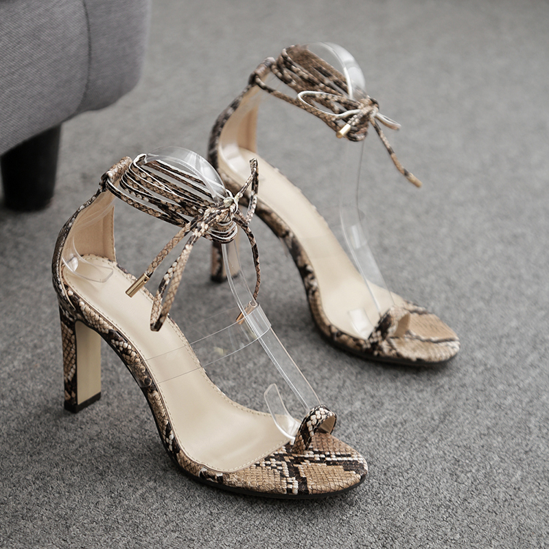 Woman Cross Strap High Heels Sandals Summer Lace Up Slides Sexy Snake Prints Shoes Peep Toe Clear Heel Shoes Transparent Pumps