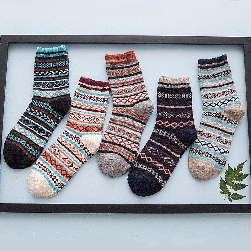 Winter Thickened Warm Striped Geometry Print Wool Socks Casual Men Socks Business Socks  Mens Vintage Winter Trends  Fashion