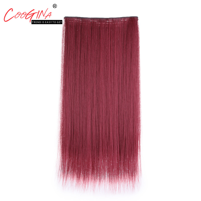 Coogina New Fashion Womens Long Straight Hair Clips One Piece Wig Chemical Fiber Hairstyle Seamless Hair Extension Five Clips
