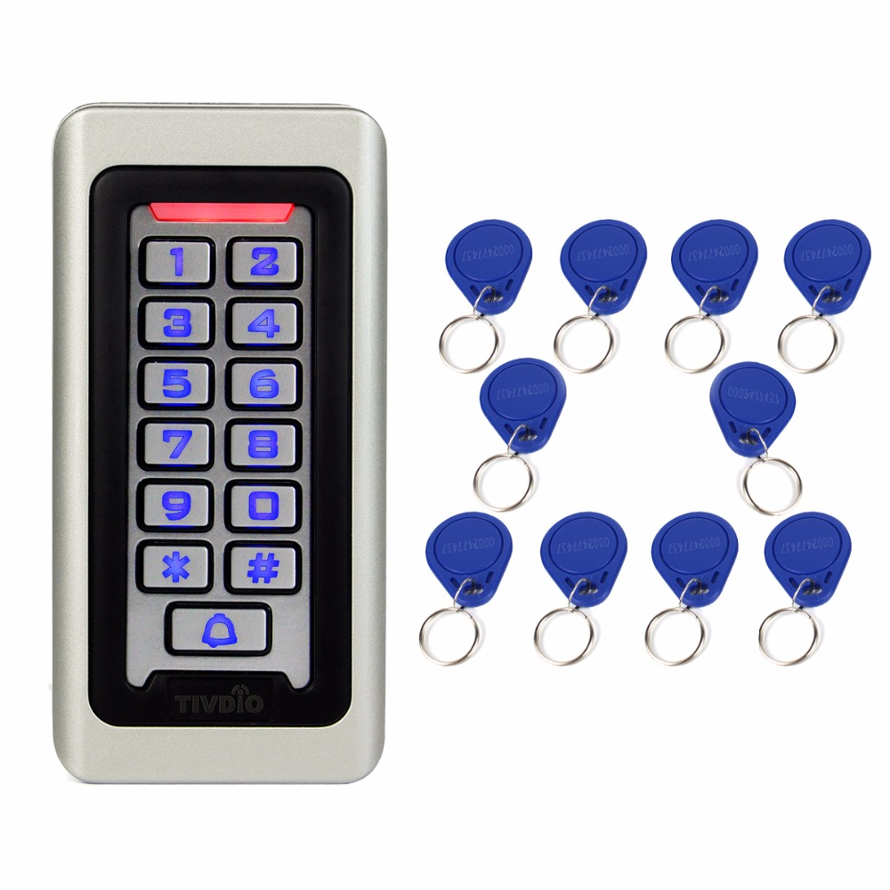 TIVDIO Access Control Keypad System RFID Door 125KHz 1 Access Control Keypad + 10 RFID Keyfobs Cards With 2000 Users F9501D