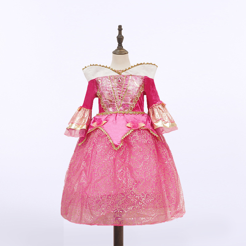 New style princess Aurora pink dress costume 2017 kids clothing quality Sleeping Beauty cosplay costume party dress girls new aurora dress kids sleeping beauty costume for girls party dresses girls briar rose dress children ball gown cosplay clothing