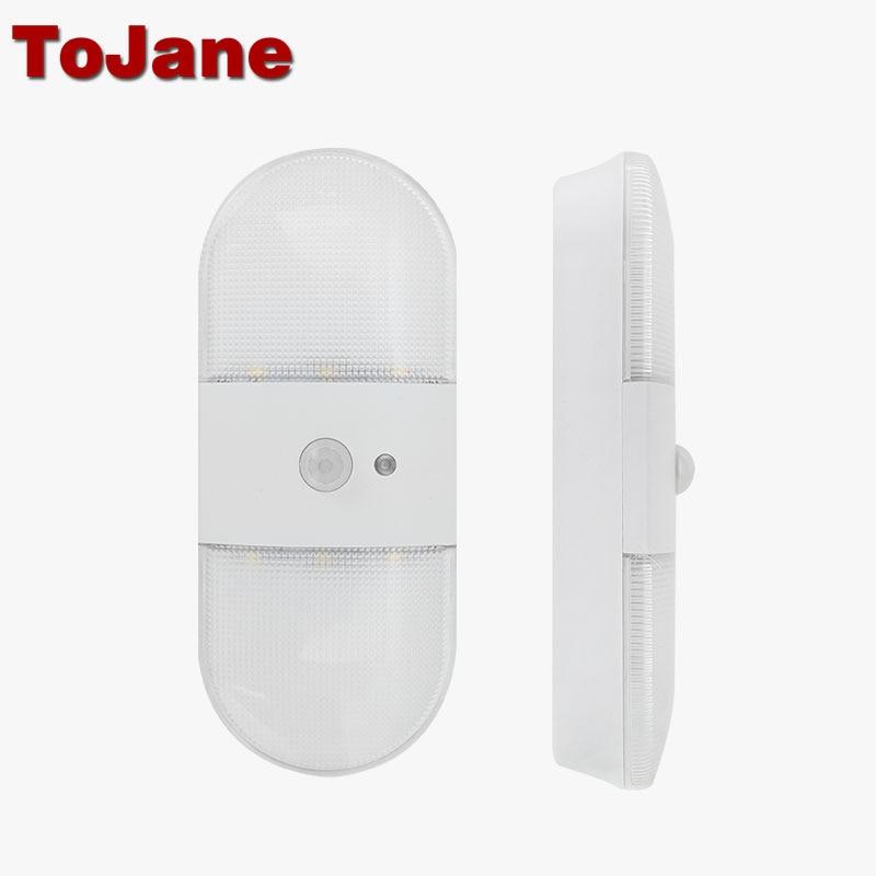 Tojane Led Sensor Light Closet Night Battery Lamp Motion Wireless Wall Lamp Bookcase Showcase Wireless Led Lamp TG206 AA Battery