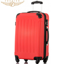 20 24 28 Inches 1 Piece Solid Pattern ABS Pressure-resistant Travel Hardside Carry-on Luggage Suitcase Red Color Fochier XQ008