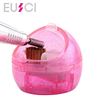 Clean Brush Mini Nail Art Drill Head Cleaning Case Box Bit Cleanser Dust  Remove Polishing Manicure Tool Accessories