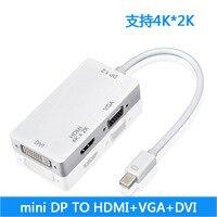 DP Mini três-em-um adaptador mini DP PARA HDMI VGA DVI multi-função suporte 4 K * 2 K