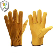 OZERO New Work Gloves Cowhide Leather Men Welding Working Gloves Safety Protective Garden Sports MOTO Wear-resisting Gloves 0007 work gloves cowskin leather barbecue stove gloves garden safety protective cut heat resistant long sleeve welding gloves