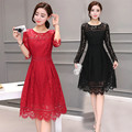 New Autumn Elegant Women Hollow Lace Long Sleeve Slim Fit Lace A-Line Empire Knee-Length Dress
