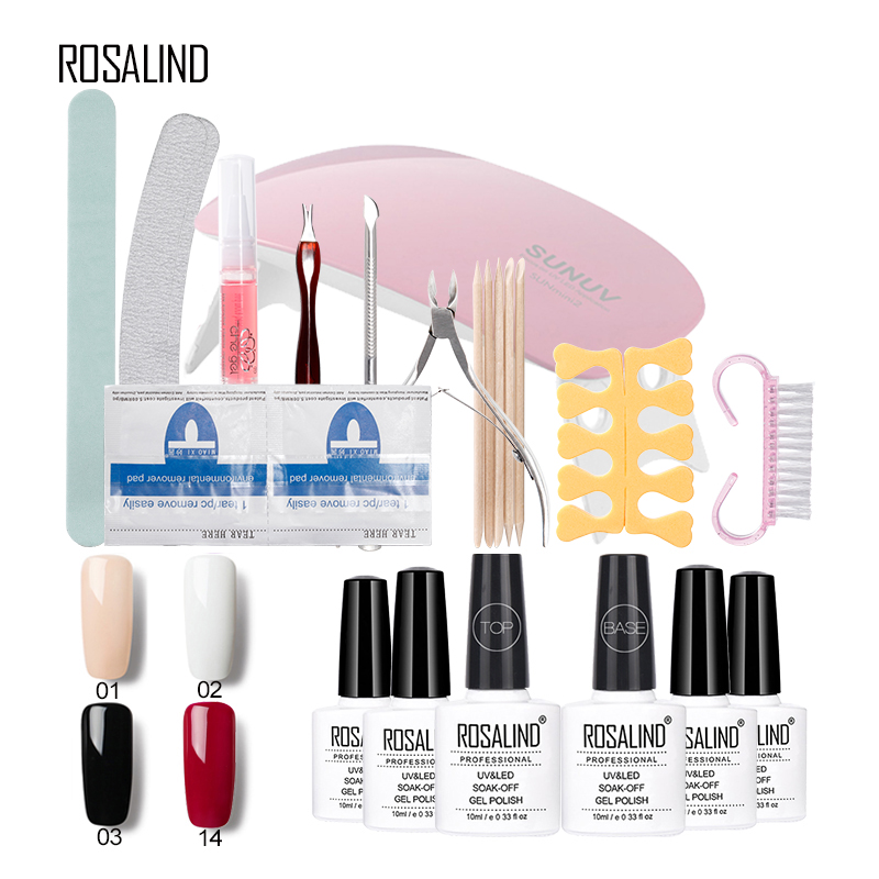 Rosalind 10ML* 4PCS Pure Color Gel Nail Polish+2PCS Base Top Coat+10PCS Manicure Smile French Sticker And Nail Tool Form Set&Kit free shipping new 2017 hot 13 single pure color series classic collection manicure nail polish strips nail wraps full nail sheet