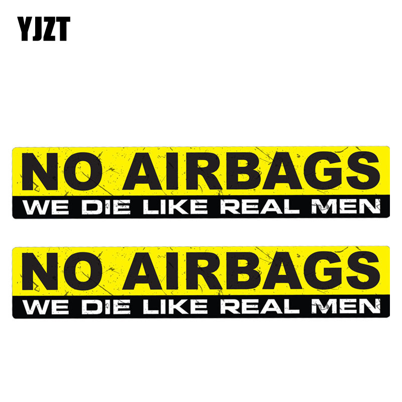 YJZT 15CM*3CM 2X Amusing NO AIRBAGS WE DIE LIKE REAL MEN Car Sticker Reflective Motorcycle Parts C1-7502 no airbags we die like real men bumper stickers funny vinyl decal for truck windows black silver white yellow red