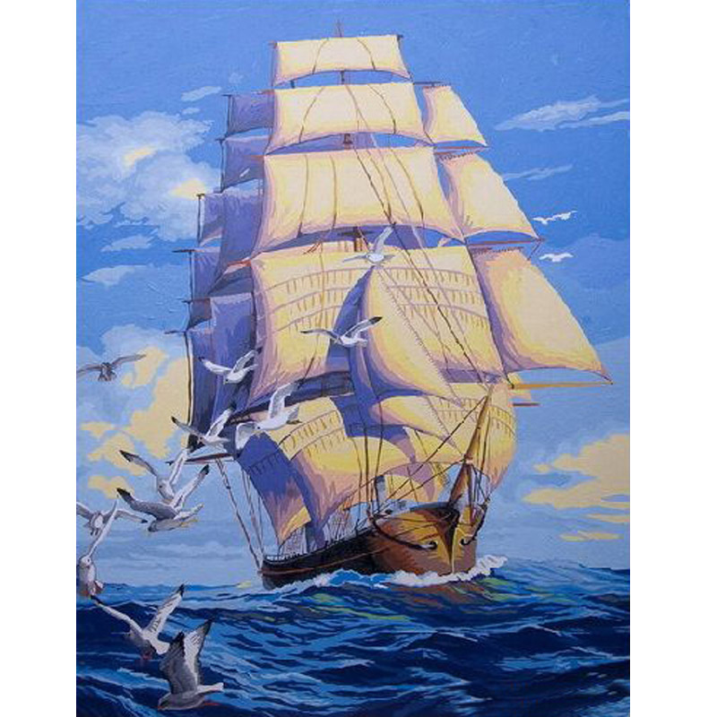 Picture On Wall Ships Plain Sailing oil Painting Drawing By Numbers Abstract Gift DIY  Coloring By Numbers Canvas Home Decor
