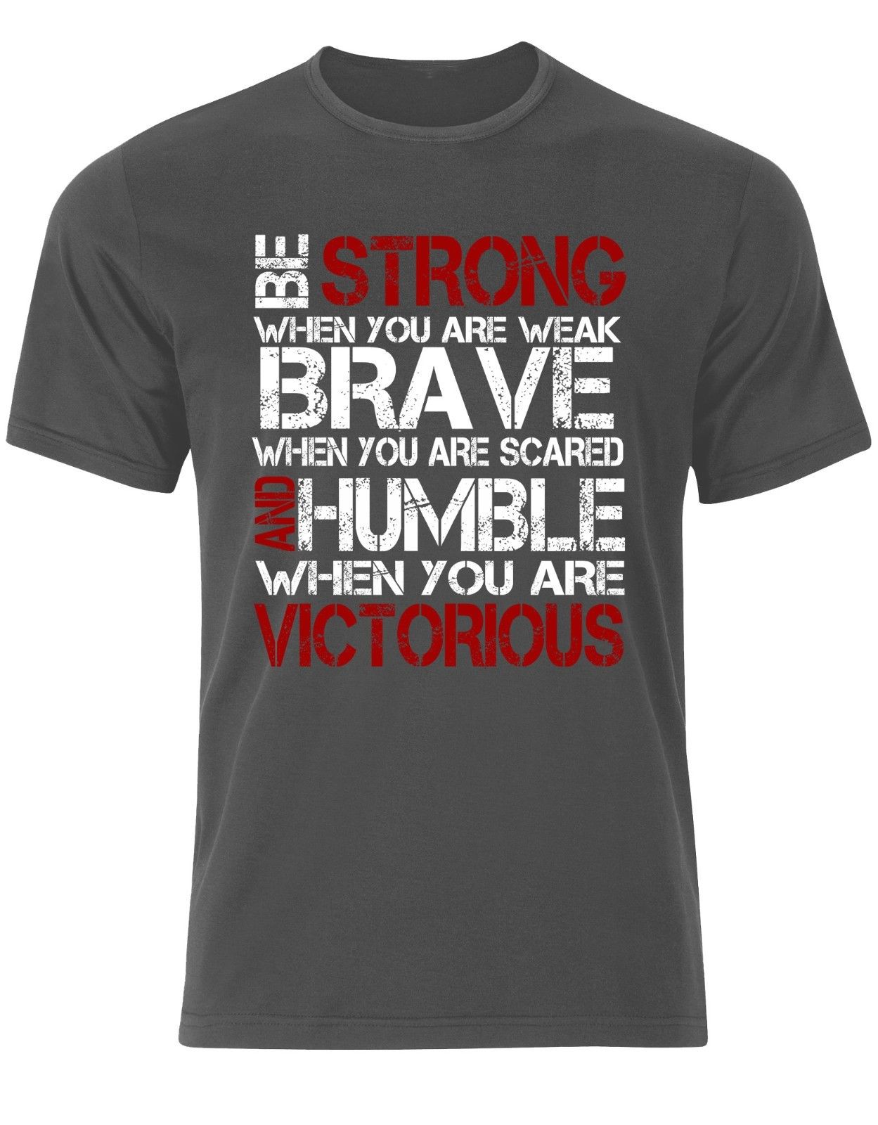 Fashion Summer Tops Be Strong Brave Humble Victorious Quotes 2018 Goals Gymer Train Men T shirt AM07