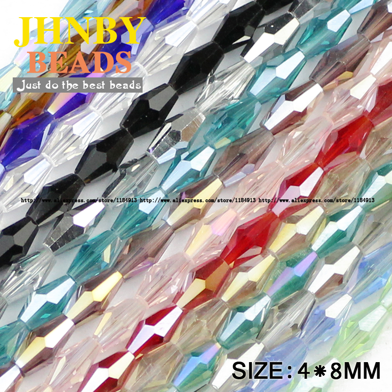 JHNBY Long Bicone Faceted Austrian Crystal Beads 100pcs 4*8mm Top Quality Glass Loose Bead Handmade Jewelry Bracelet Making DIY