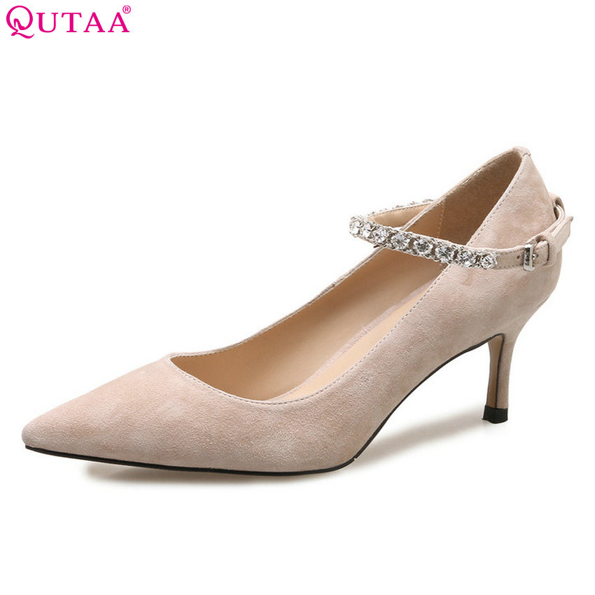 QUTAA 2018 Women Pumps Buckle Cow Leather +pu Women Shoes Pointed Toe Thin High Heel Casual All Match Wedding Pumps Size 34-39 paulmann встраиваемый светильник paulmann premium line halogen 99313