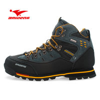 BAIDENG Men Hiking Shoes Waterproof Leather Shoes Climbing & Fishing Shoes New Popular Outdoor Shoes Men High Top Winter Boots