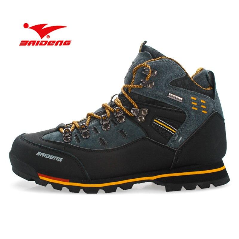 BAIDENG hombres zapatos de senderismo zapatos de cuero a prueba de agua zapatos de escalada y pesca zapatos nuevos zapatos populares zapatos al aire libre zapatos de los hombres altos botas de invierno