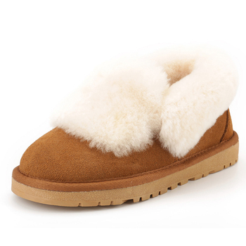 RUIYEE Women's Wool Boots Fashion Leather Snow Boots Women's Boots Sweat Breathable Warm Boots Fur Integrated Boots