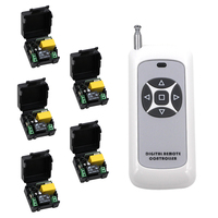 Hot Sale 1CH AC 220V RF Wireless Mini Switch Relay Receiver 5CH Remote Controllers Lighting LED