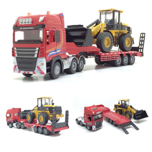 1:50 бортовой прицеп грузовик игрушечный сплав трейлер ролик экскаватор погрузчик грузовик Модель автомобиля игрушки для мальчиков экскаватор погрузчик