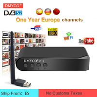 DMYCO Satellite TV Receiver decoder DVB S2 Full 1080P TV youtube Powervu Receptor +USB WIFI with 1 Year Europe Spain channels