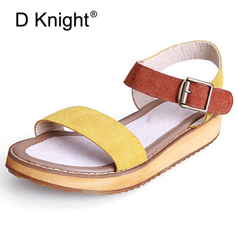 New Women's Summer Flat Gladiator Platform Buckle Sandals 2017 Fashion Casual Vintage Big Size 34-45 Large Sandalias Shoes Women 34 43 big small size new 2016 summer fashion casual shoes moccasins bottom shoe platform flat for women s loafers ladies