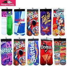 Famous Drink 3D Printing Basketball Socks Men Cotton Compression Socks Junk Food Fries Chocolate Printed Novelty Sock