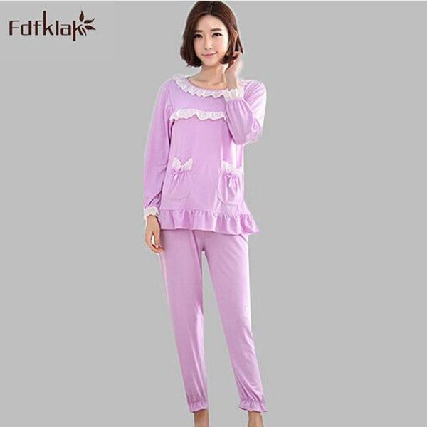 New 2017 Pijama Woman Korean Style Long Sleeve Pyjama Femme Cotton Autumn  Winter Soft Pajamas Ladies Sleepwear Set Home Suit A79 cbe4c9f98