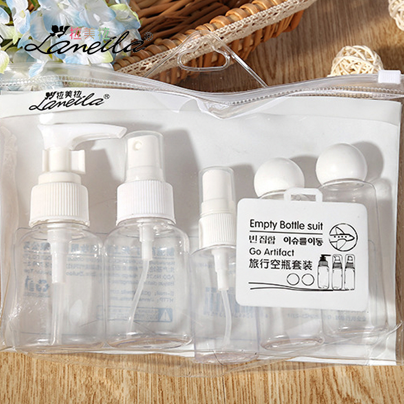 LAMEILA 5pcs Empty Cosmetic Container Travel Bottle Set with Spray Bottle Cosmetic Jar Refillable Bottle Plastic Shampoo Jar Set compact kitchen spice jar bottle set silver set of 3