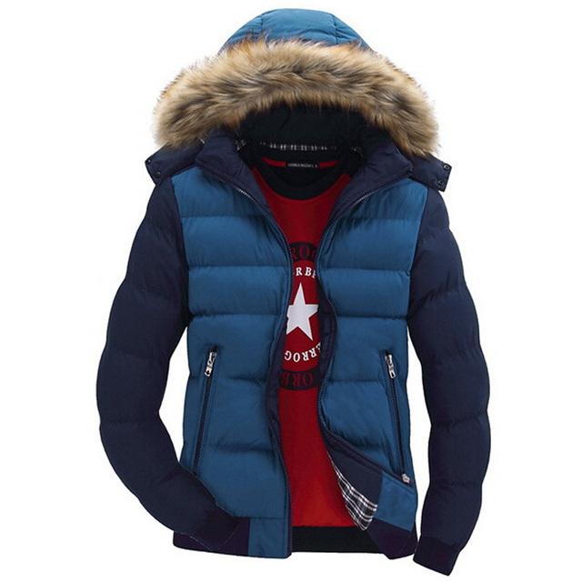 Nuevo Diseño Con Capucha Abrigo de Invierno Parka Los Hombres Ocasionales de Los Hombres Aptos Collar del soporte de Espesor Hombre Abajo Chaqueta de Color Sólido Más El tamaño M-3XL