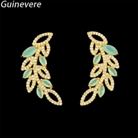 Guinevere Gold Color Copper Tree Leaf Multicolor Cubic Zirconia Stud Earrings Women S Fashion Party Jewelry