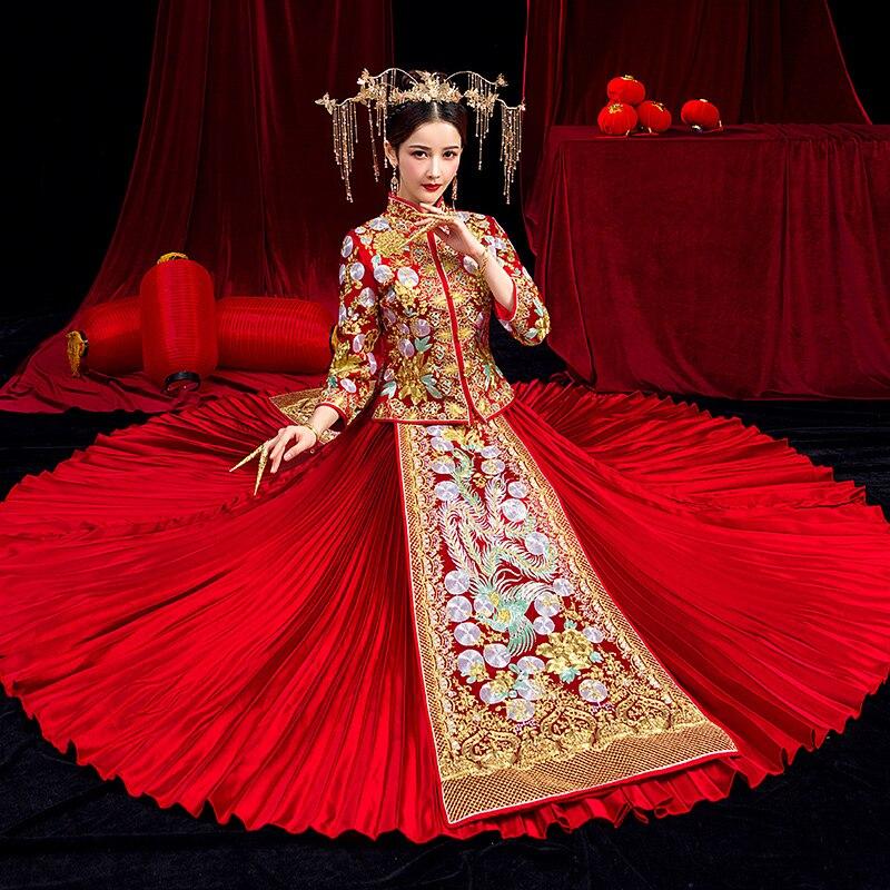 Благородный женский красный цветок Cheongsam винтаж Marraige костюм изысканный Азиатский невесты свадебное платье Полная длина Qipao тост костюмы