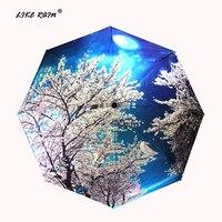 Как дождь китайский Книги по искусству Сакура Зонты женский складной зонтик дождь Для женщин ветрозащитный высокое качество УФ зонтик YHS03