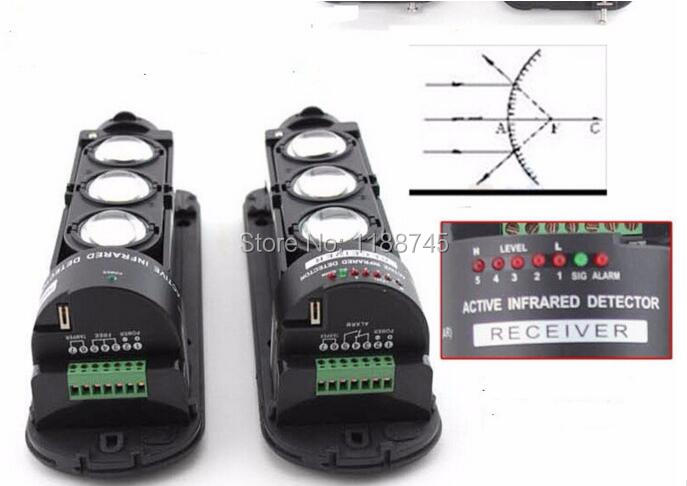 Wired 150M Alarm Triple Three Beam Photoelectric Infrared Detector Sensor