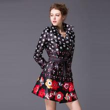 Best Quality New Trench Coat Spring 2016 Women Turn-down Collar Elegant Floral Print Double Breasted Casual Long Outerwear Coat