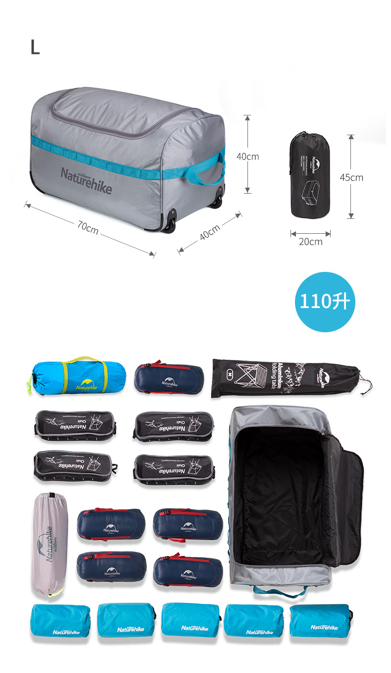 b58e98833290 FLASH SALE] Naturehike Suitcase Kit Wheeled Foldable Storage Bag ...