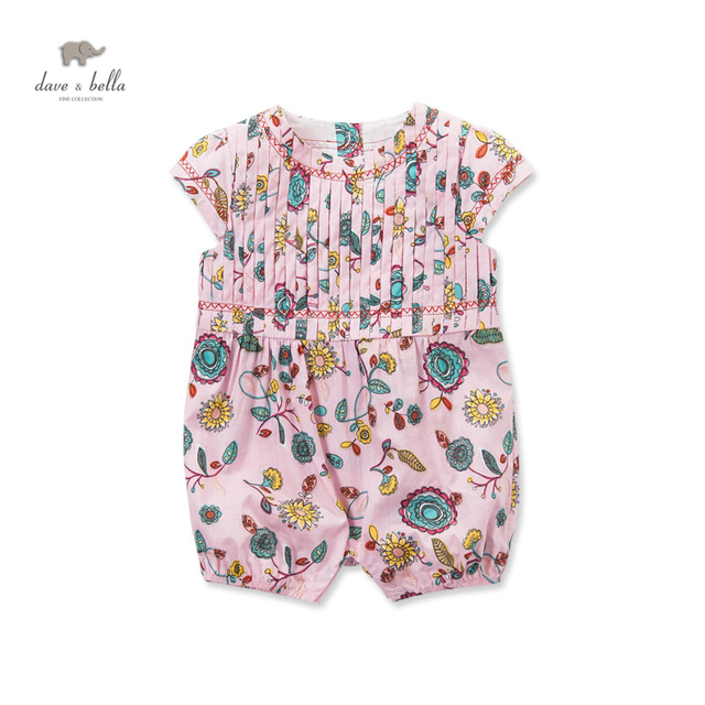 090b320994d7 DB3222 dave bella summer new born baby cotton pink flower printed romper  infant clothes girl cute