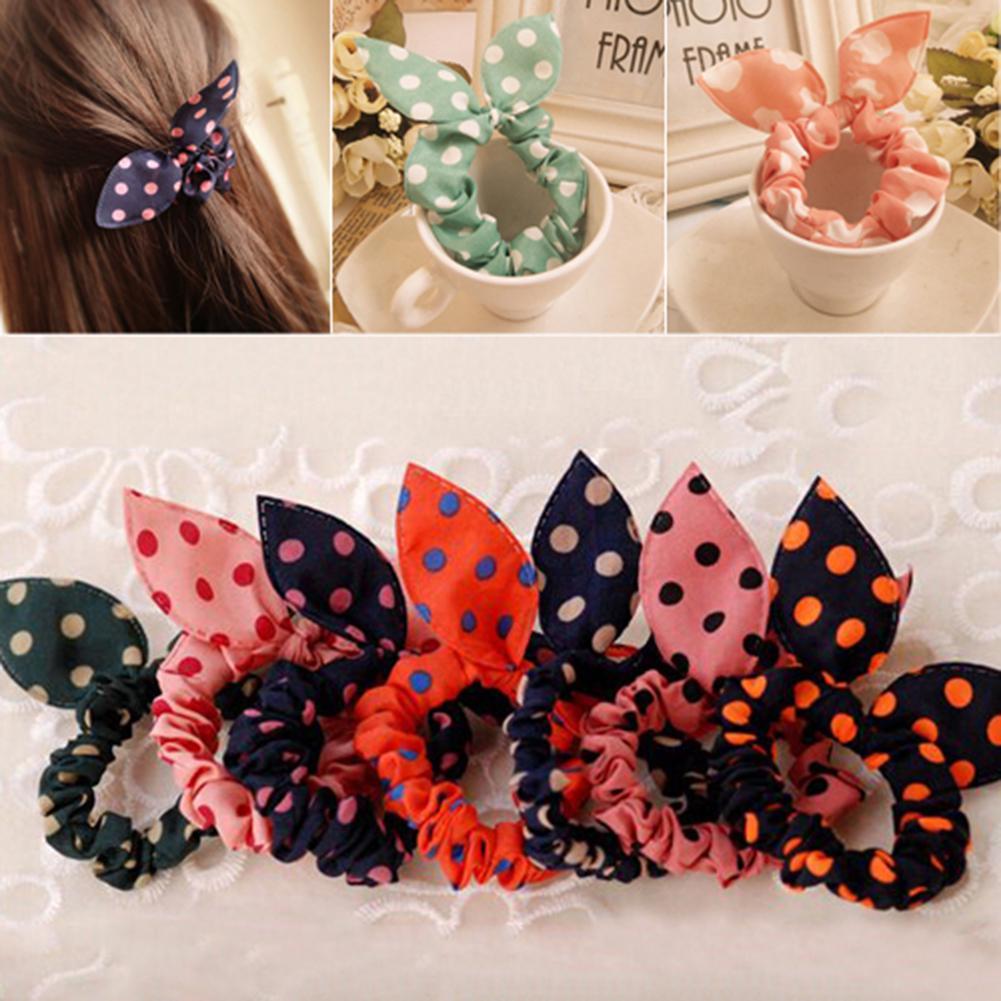 5Pcs Fashion Girls Polka Dot Elastic Hair Bands Headwear Rope Scrunchies Female Ponytail Hold Accessories Random Color