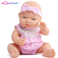WOWCHEER 13 inch 33cm Realistic Newborn Doll Silicone Vinyl Lifelike Boneca Newborn Mini Dolls Toys For Girl Brinquedo