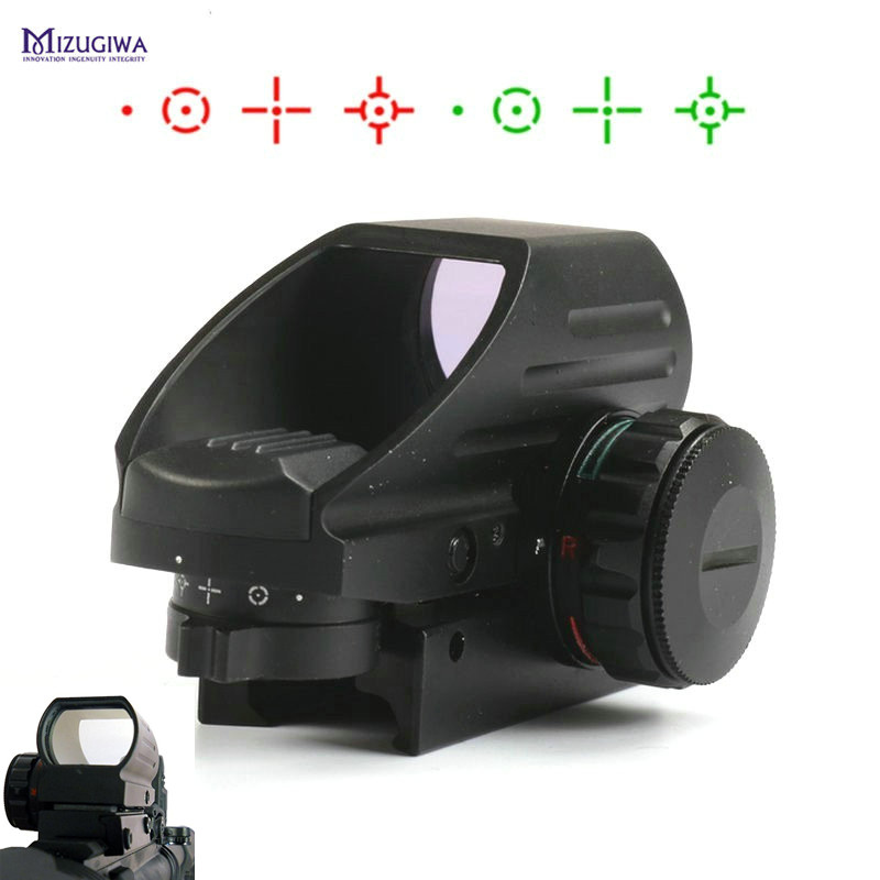 MIZUGIWA Green Red Dot Sight Scope Hunting Optics 1x22x33 Scope 4 Reflex Sight Airsoft Weaver 20mm Mount AK Airgun Rifle vector optics condor 2x42 red and green dot rifle scope sight with 20mm weaver mount base for hunting 12ga shotgun 22 rifle