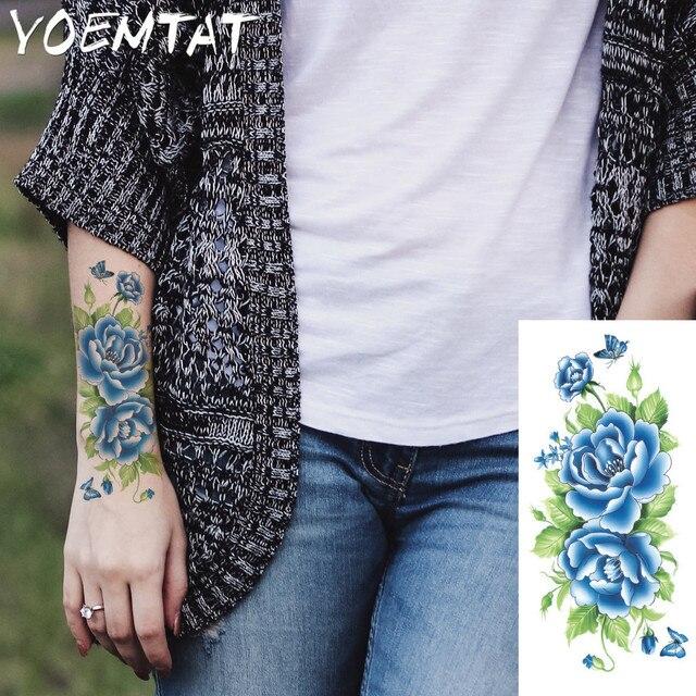 Rosas Rojas Flores Brazo Hombro Tatuaje Pegatinas Flash Henna