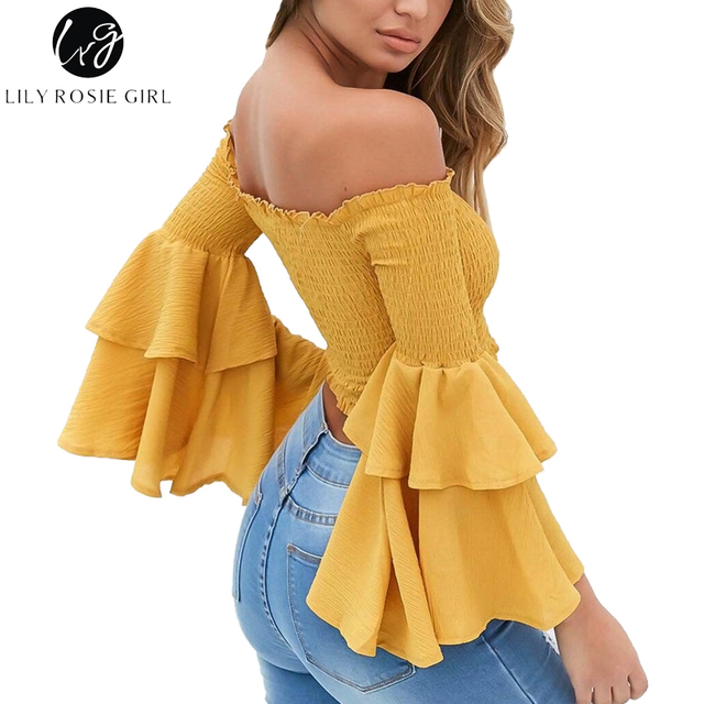 Lily Rosie Girl Off Shoulder Yellow Blouse Shirt Women Sexy Ruffle Short  Blusas Femme Butterfly Long cd961b0685f