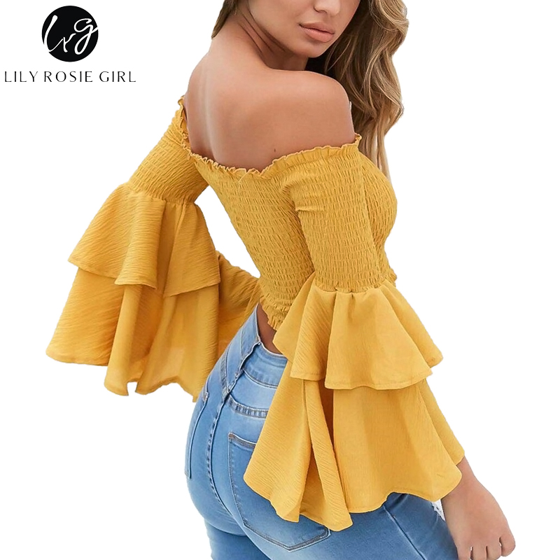Lily Rosie Girl Off Shoulder Yellow   Blouse     Shirt   Women Sexy Ruffle Short Blusas Femme Butterfly Long Sleeve Summer Beach CropTop