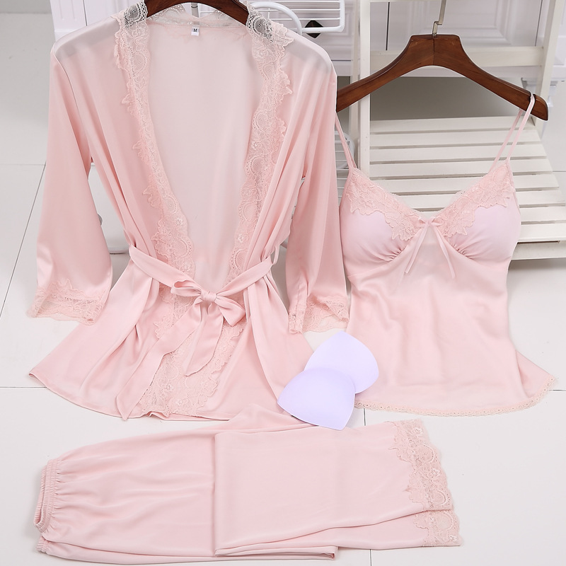 2019 Luxury Women's Three-pieces Bathrobe + Long Pants   Pajamas     Sets   With Chest Padded Slim Body Nightwear Lingerie   Set   Size XXL