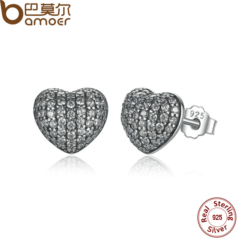 BAMOER Zirconia Brincos 925 Sterling Silver In My Heart Pave Stud Earrings, Clear CZ for Women Fine Jewelry Wedding PAS444 timeout бермуды