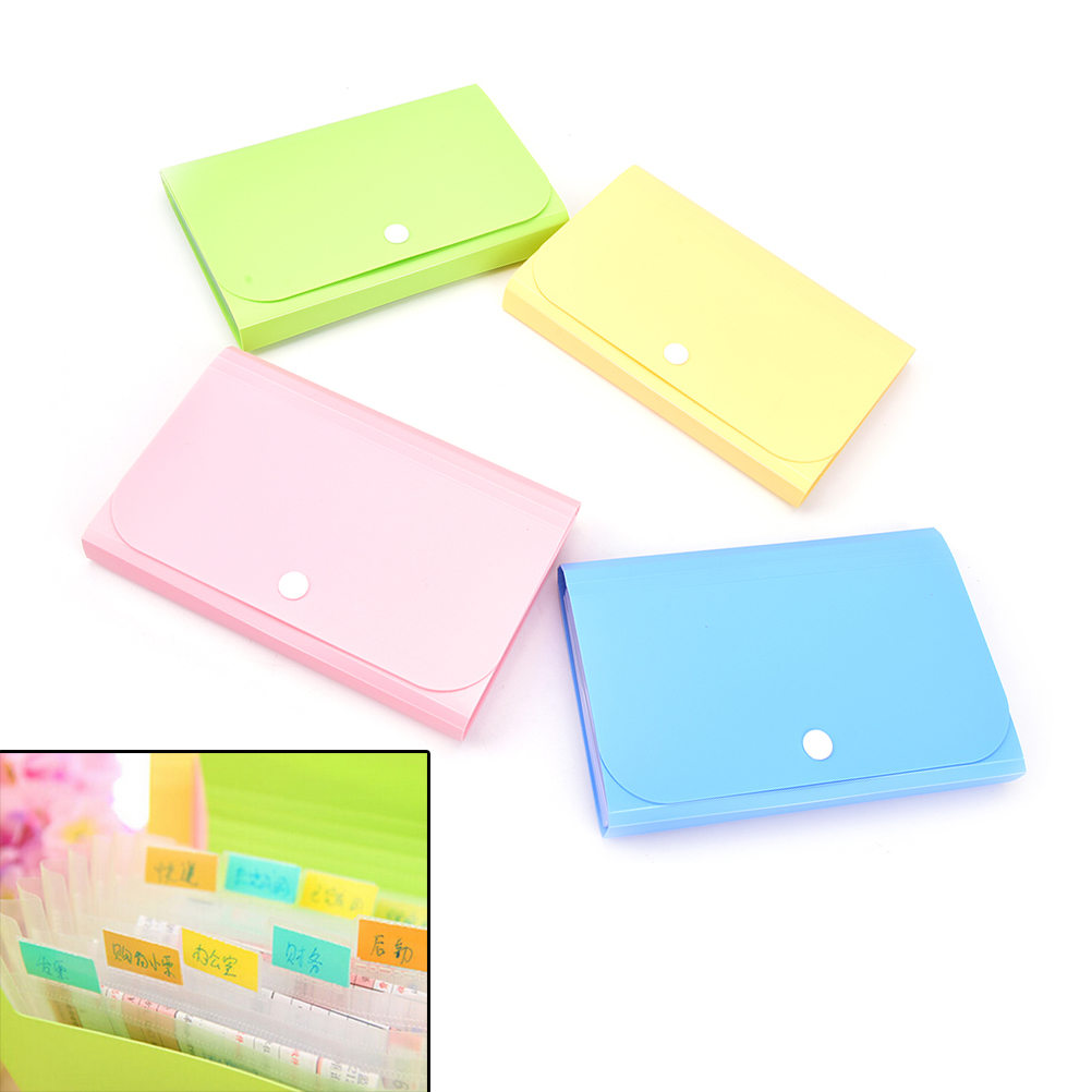 1pc New Plastic Candy Color Document Bag File Folder Expanding Wallet Bill Folder Small Size 104*78*35mm