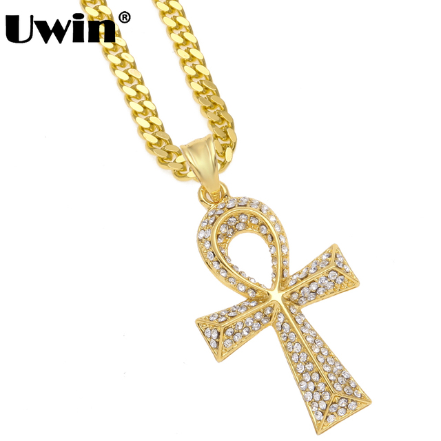 Uwin vintage ankh necklace egyptian gold color full bling uwin vintage ankh necklace egyptian gold color full bling rhinestones pendant chain key to life aloadofball Image collections